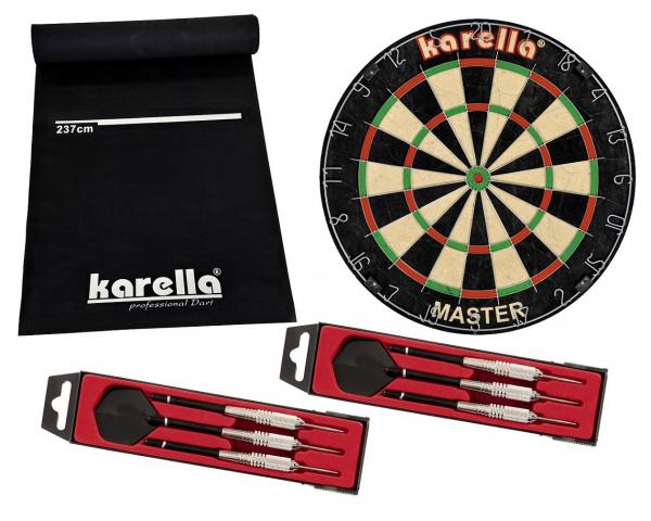 Karella Dartboard Master mit Dartmatte, Pfeile und Ring