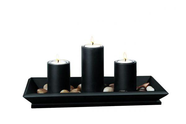 Moderner Kerzenhalter inkl. Teelichter und Dekosteine, schwarz, Tablett mit Kerzenständer