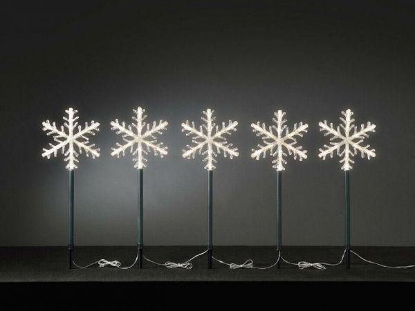 Leuchtstäbe Schneeflocke, 5er Set, warm-weiß, außen, Weihnacht