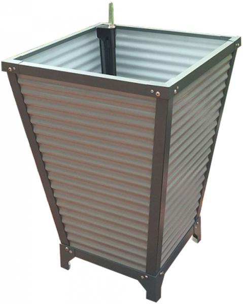 Pflanzkasten konisch mit Bewässerungssystem, Aluminum grau