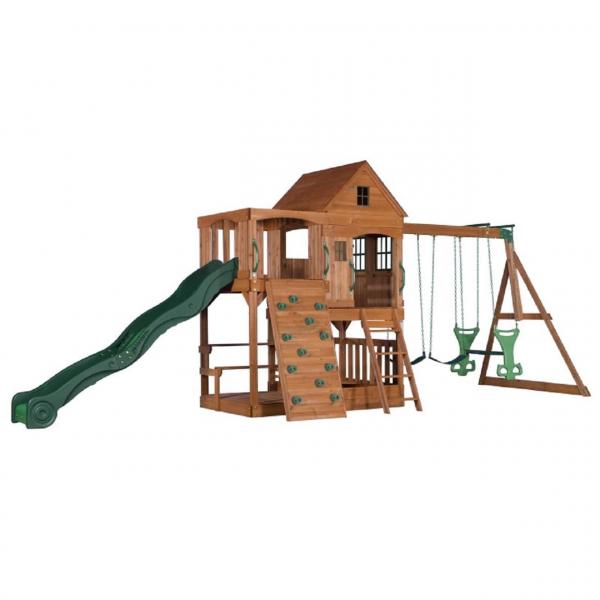 Spielturm mit Rutsche und Schaukel, Stelzenhaus
