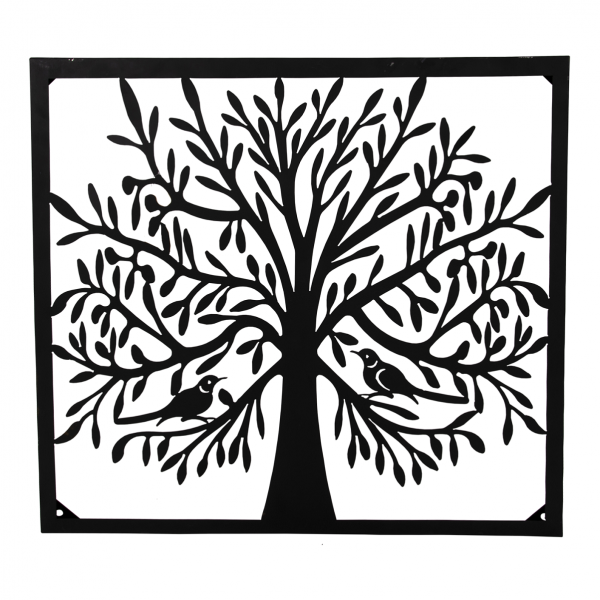 Wanddeko Baum, eckig, 70 x 70 cm, schwarz, Metall