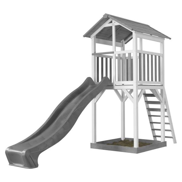 AXI Spielturm aus Holz mit Rutsche in grau