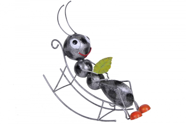 Gartenfigur Ameise mit Schaukelstuhl, Metall