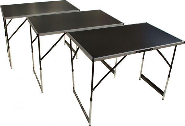 Tapeziertisch und Arbeitstisch,  3-teilig, höhenverstellbar, 100x60 cm pro Tisch, Stahlgestell
