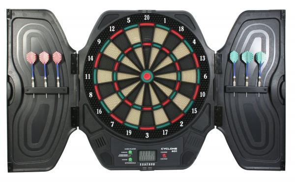 Carromco Elektronisches Dartboard Kabinett CYCLONE-401, Mit Adapter