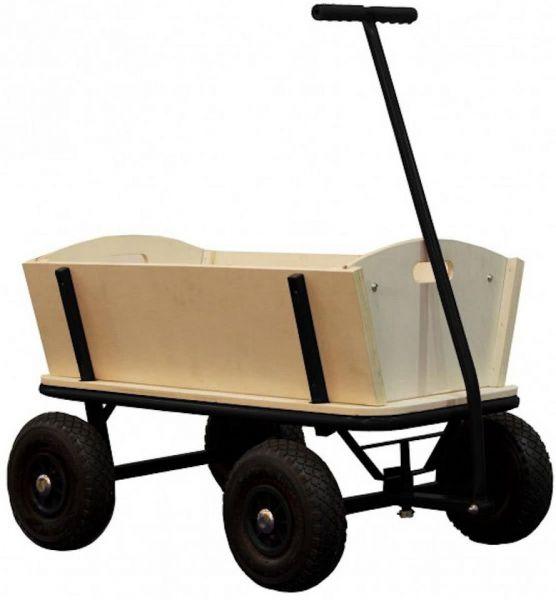Bollerwagen aus Holz mit Stahlgestell schwarz