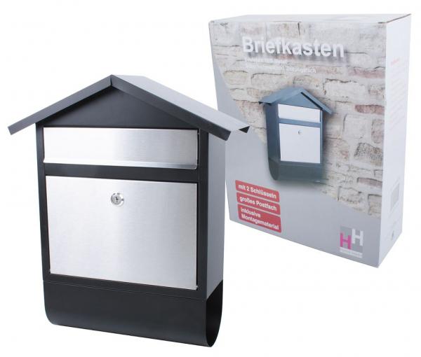 Briefkasten silber/schwarz mit Zeitungsrolle, Edelstahl/Eisen, Postkasten