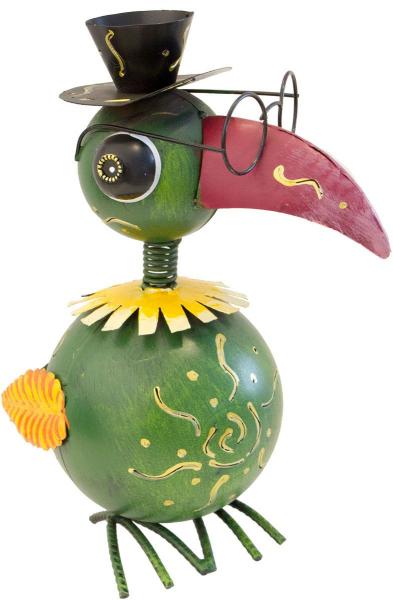 Dekovogel mit Hut, Brille, Wackelkopf, 30cm hoch, Windlicht Metallfigur