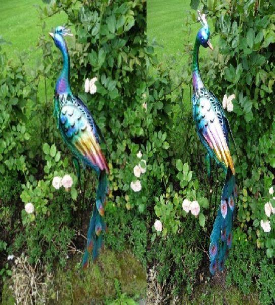 Dekofigur Pfau Metall ca. 90cm hoch, bunte Gartenfigur