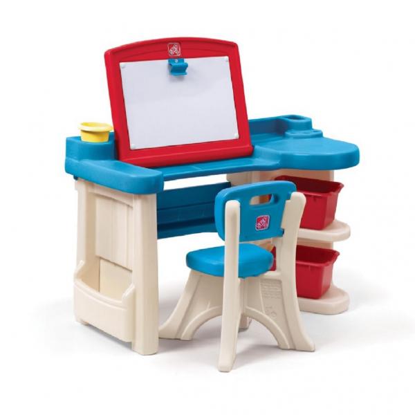 Schreibtisch mit Maltafel und Stuhl, Kunststoff