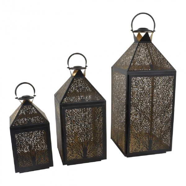 Windlicht-Set, 3-teilig, Laterne, Metall