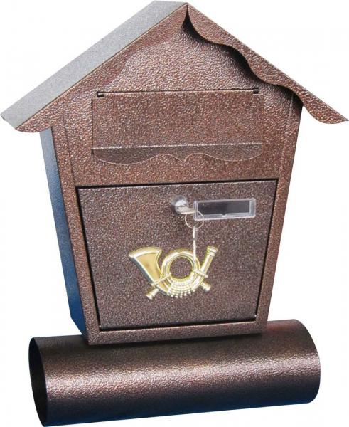 Briefkasten mit Zeitungsrolle, Kupfer, Namensschild und Schlüssel, Postkasten antik
