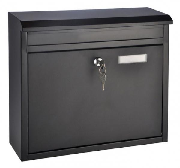 Briefkasten schwarz, Metall,  Schlüssel und Namensschild