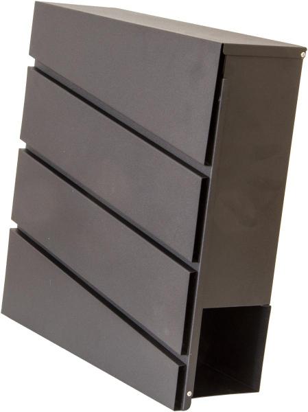 Briefkasten DESIGN mit Zeitungsfach, schwarz-matt, Metall