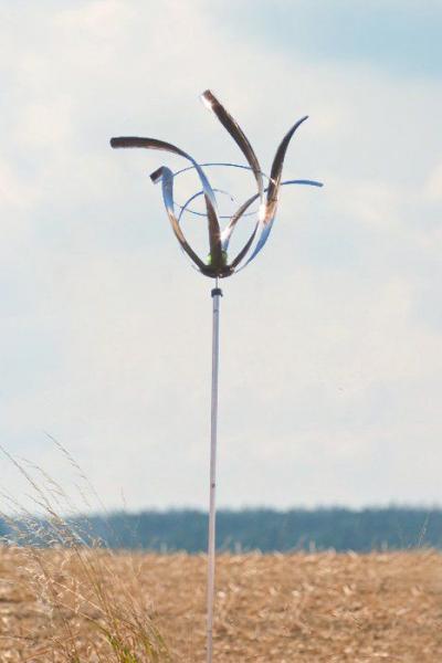 "Edelstahl Windspiel ""Tulpe mit Kugel"" 60 x 40 cm inkl. Stab ca. 160 cm"