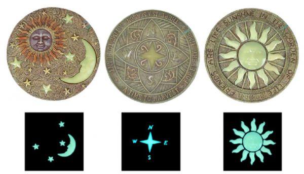 Trittstein mit Leuchtfunktion, 3 Motive, Gartenplatte