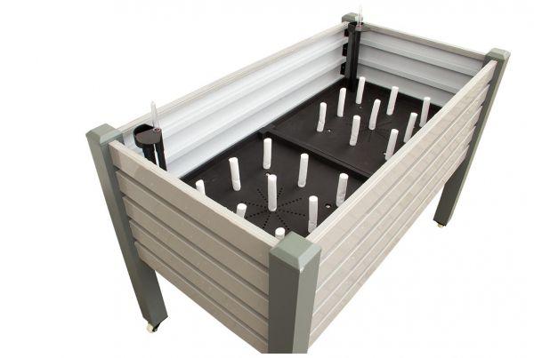 Premium Hochbeet mit Bewässerungssystem,Rollbar, grau