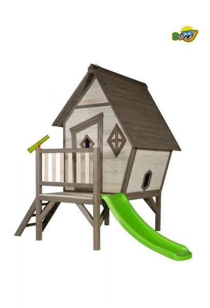 AXI Spielhaus Cabin XL Grau-Weiß, Spielturm Holz