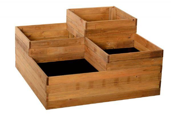 Pflanzkasten aus Holz, 4 Ebenen, Hochbeet mit 4 Fächern