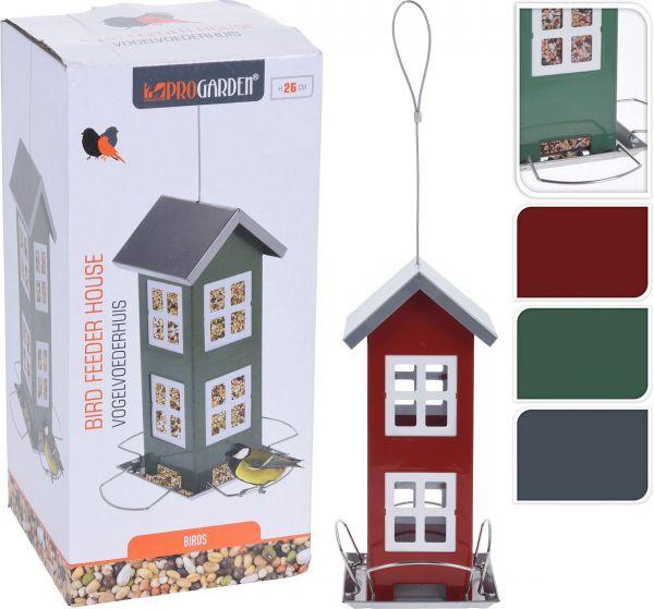 Vogel-Futterhaus aus Metall, zum aufhängen, in den Farben rot, grau oder grün