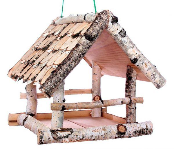 """Vogelhäuschen """"Birke II"""" (groß), zum Aufhängen, Holz, Futterhaus, Vogelfutterhaus"""