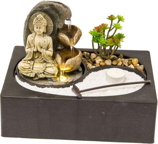 Zimmerbrunnen Buddha mit Zengarten und LED Beleuchtung