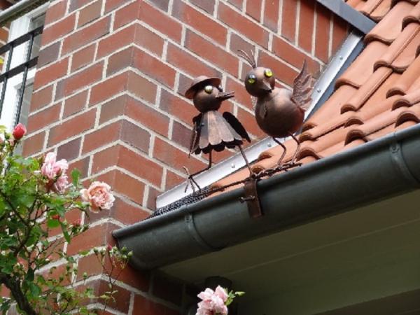 Dachrinnenfigur Vogelpaar, Kupfer-Look, Zaunfigur