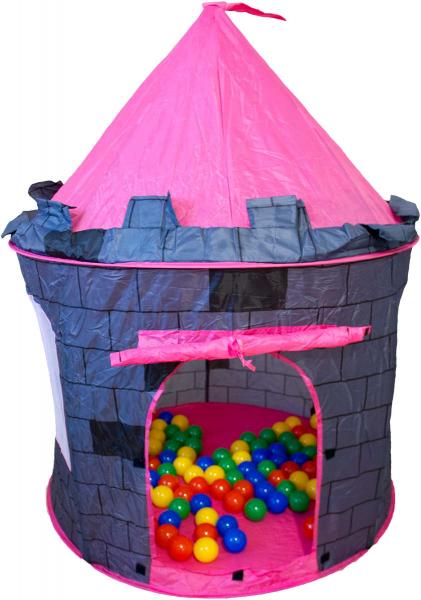 Bällebad Turm Prinzessinenschloss grau rosa zinnen Fahne bunte Bälle
