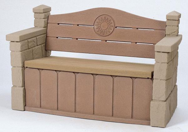 Sitzbank mit Truhe in Steinoptik, Kunststoff, Gartenbank, 2 Sitzer Bank