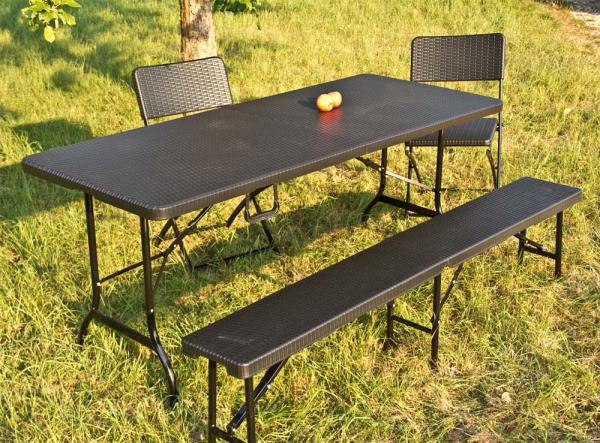 Sitzgarnitur, Rattan-Optik, 1 Tisch + 8 Stühle, schwarz  klappbar Terrassenmöbel Essgarnitur