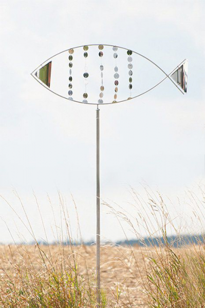 "Edelstahl Windspiel ""Fisch ST"" 60 x 40 cm inkl. Stab ca. 160 cm"