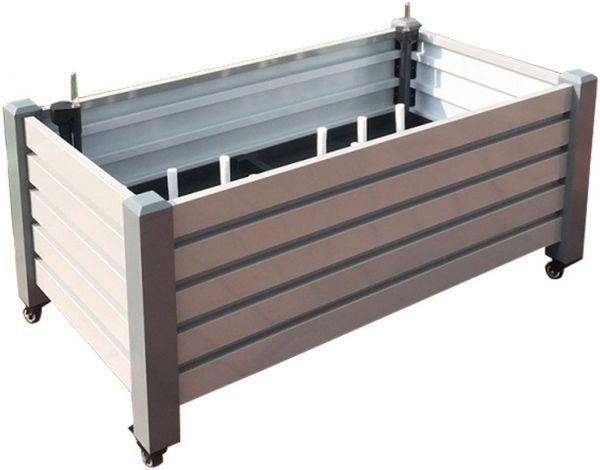 Premium Pflanzkasten mit Bewässerungssystem und Rollen, Aluminium grau
