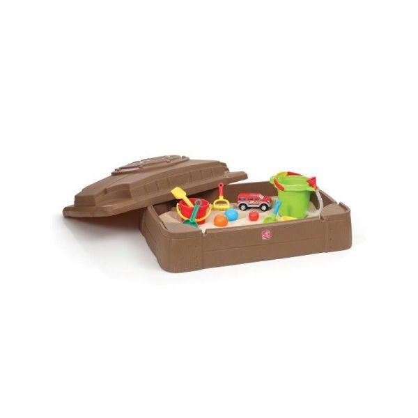Sandkasten mit Sitzfläche und Abdeckung, Kunststoff