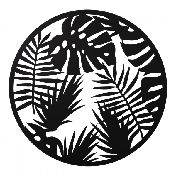 Wanddeko aus Metall, Tropenblatt, 99 cm Durchmesser, Metall