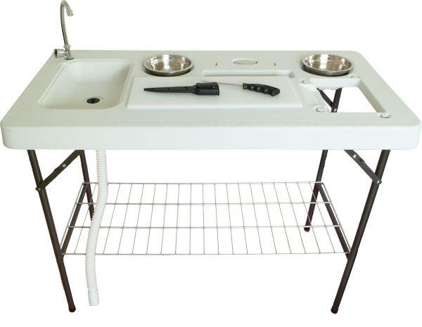 Filetier-Tisch mit Spüle und Zubehör, Kunststoff, klappbar