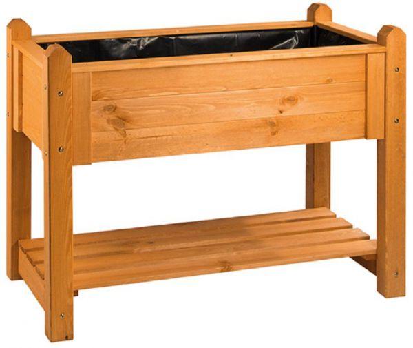 Hochbeet Premium mit Rollen aus zertifiziertem Kiefernholz, Honig, 114 x 60 x 84,4 cm