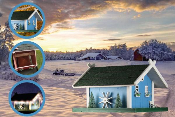 Futterhaus Smaland blau mit Beleuchtung, Holz, Vogelfutterhaus