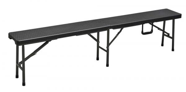 Klappbank, 2-er Set, Rattan-Optik, 180 cm,  schwarz Faltbalnk Bierzeltbank