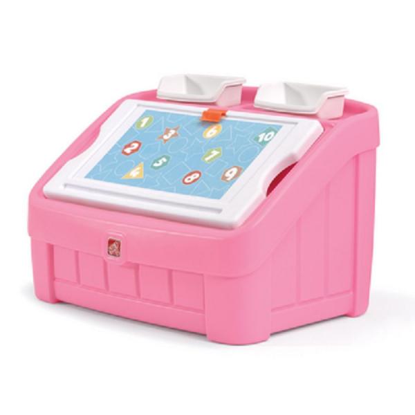 Spielzeugkiste mit Maltafel, rosa, Kunststoff