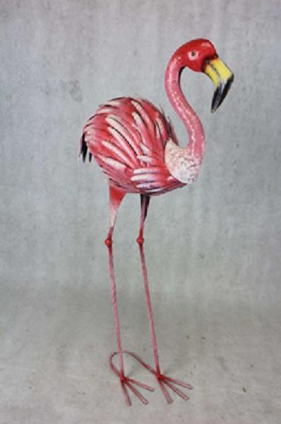 Gartenfigur Flamingo, 87cm hoch, Metall-Dekofigur