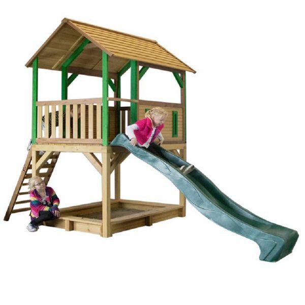 Spielhaus PUMPBA, hohe Plattform, mit Rutsche