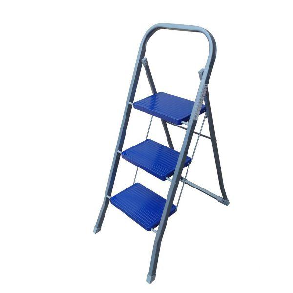 Klapptritt mit 3 Stufen und Sicherheitsbügel, Stahl, robuste Ausführung