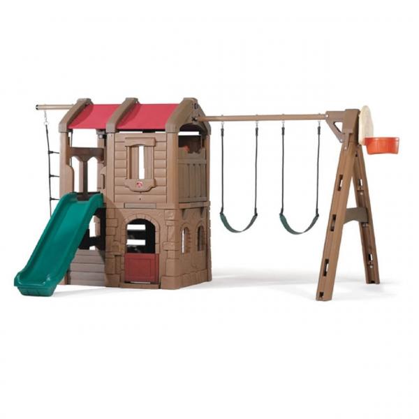 Spielturm mit Schaukel, Rutsche und Basketballkorb