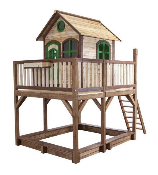 Spielhaus Liam aus Holz mit Rutsche und Terrasse