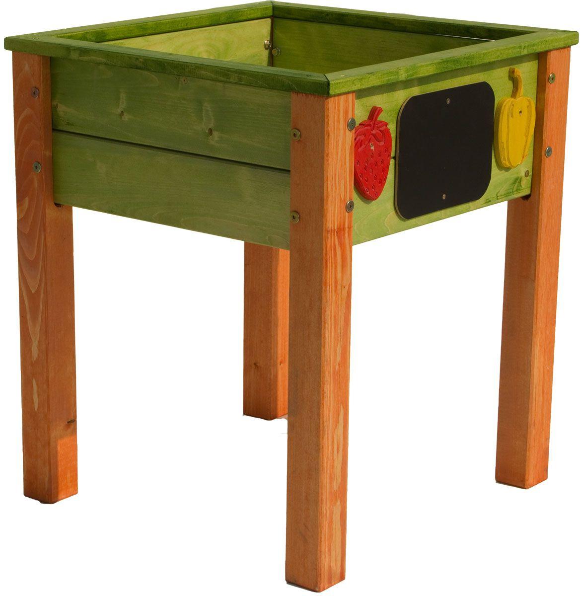 Hochbeet Fur Kinder Aus Holz Grun Orange 50 X 50 X 62 Cm