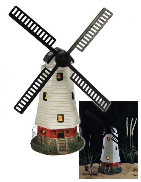 Solar Windmühle mit LED Beleuchtung, bewegliche Flügel, Dekoration