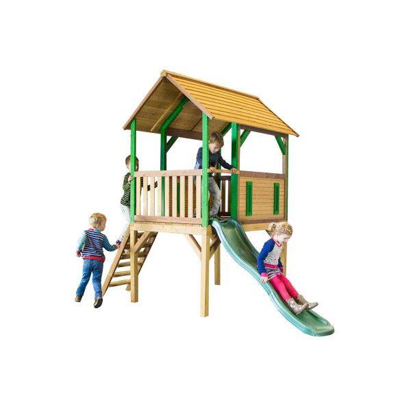 Spielhaus auf Stelzen mit Rutsche, Bogo, Holzhaus