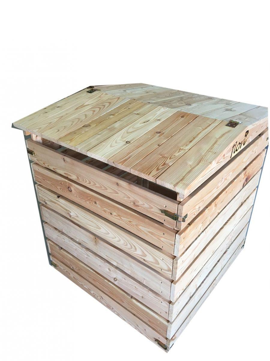 komposter aus holz massiv mit klappdeckel fsc l rche holzkomposter ebay. Black Bedroom Furniture Sets. Home Design Ideas