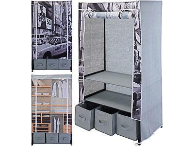 faltbarer textil kleiderschrank stoff garderobenschrank kleiderstange schrank ebay. Black Bedroom Furniture Sets. Home Design Ideas
